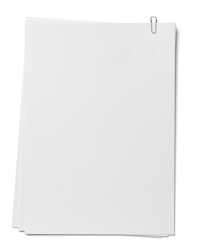 close up of a stack of papers and paper clip on white background. each one is shot separately